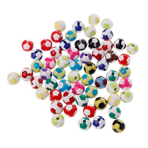 Carry stone 60 Stücke 12mm Runde Fußball Fußball Muster Spacer Lose Perlen für Charme Halskette Armband Schmuck Machen DIY Handgemachte Bunte