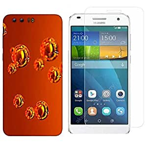 Snoogg Abstract Orange Bubbles Combo Designer Protective Back & Shatter Proof Tempered Glass For HONOR 8