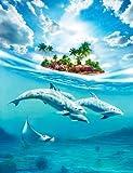Fototapete Bild DELFINE - UNTERWASSER 200x260cm Tapete Bordüre Insel Ozean