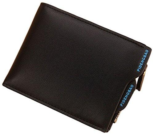Herren Geldbörse mit Reißverschluss für Karte / Geld Schwarz (horizontale Tasche)
