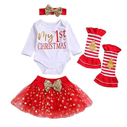 (Bodenbildung Shirt Baby Kind Langarm Weihnachten Brief Kleidung + Pettiskirt Rock + Beinanzug Anzug Mädchen Weihnachtstag Overall Strampler Pyjamas)