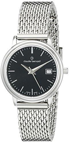 claude bernard Women's 28mm Steel Bracelet & Case S. Sapphire Swiss Quartz Black Dial Watch 54005 3M NIN