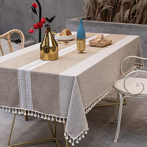 XQJDD Tablecloth - Nappe en Coton et Lin - Washable Dust-Proof Tablecloth - pour la Cuisine, Le Restaurant et Les fêtes - 140x140cm