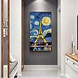 Wieoc Nacht Mit Dem Turm Leinwandbilder Wandbilder Moderne Paris Pop Art Landschaft Leinwandbilder Wohnwanddekor 40X80Cm