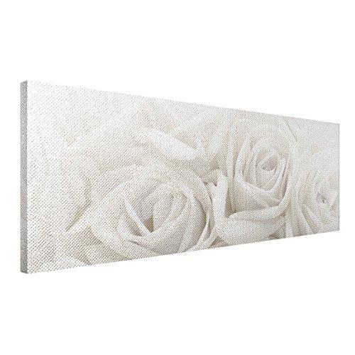 Apalis Rosenbild - Leinwandbild No.46 Weiße Rosen 120x40cm Größe:40cm x 120cm