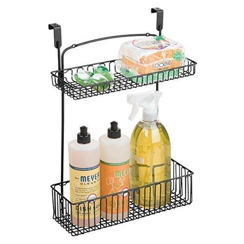 mDesign Aufbewahrungskorb für Küchen- und Badutensilien – praktischer Regalkorb aus Stahl – einfach zu montierender Schrankkorb zum Einhängen mit zwei Ebenen – mattschwarz