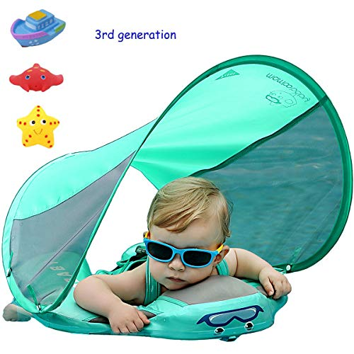 3rd Generation Baby Infant Soft Solid Non-inflatable Float Lying Swimming Ring Children Waist Float Ring Floats Pool Toys Swimming Pool Swim Trainer Swim Ring with sun canopy Swim Float with sunshade