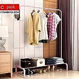 LXLA- Haushalts-Kleiderständer-moderner einfacher Kleiderständer-Boden-Aufhänger-Schlafzimmer-Stahlkleiderbügel-Stand (Farbe : Pink)