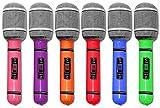 6 x aufblasbares Mikrofon 25 cm Mikrofone Party Karneval Mikro verschiedene Farben