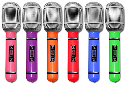 Verschiedene Kostüm Show - 6 x aufblasbares Mikrofon 25 cm Mikrofone Party Karneval Mikro verschiedene Farben