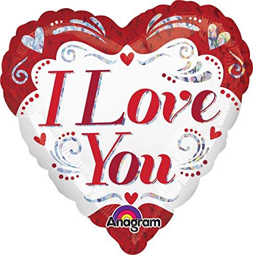 Amscan International 2986201I Love You Fancy Holografische Standard Folie Ballon