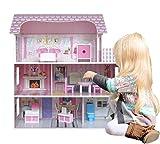 Kiddi Style DH-LV9017 Viktorianisches Puppenhaus aus Holz – Puppenstube & Holzpuppenhaus mit Puppenmöbel, rosa