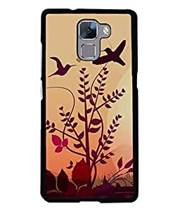 PrintVisa Designer Back Case Cover for Huawei Honor 7 (birds chirping leaves evening view)