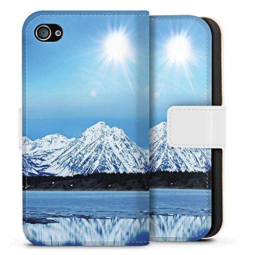 Apple iPhone X Silikon Hülle Case Schutzhülle Gebirge Schnee Gipfel Sideflip Tasche weiß