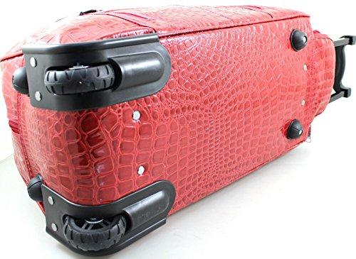 LYDC Designer-GEPÄCK Mock Croc Rollen-Trolley Tasche Reisetasche rot