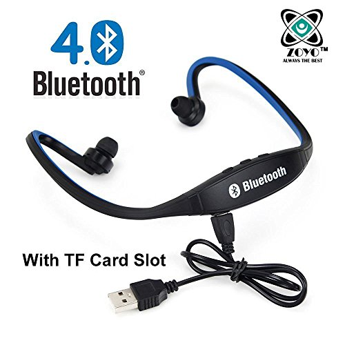 Zoyo Sports Bluetooth Headset Headphones Compatible with Samsung, Motorola, Sony, Oneplus, HTC, Lenovo, Nokia, Asus, Lg, Coolpad, Xiaomi, Micromax and All Android Mobiles (With Micro Sd Card Slot and