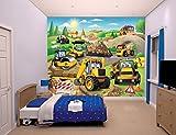 Familie24 XXXL Wandbild 243 x 305cm Auswahl Kindertapete Tapete Wanddekoration Wandbild Wandaufkleber Wandtattoo Feuerwehrman Sam Spiderman Minnie Micky (Baustelle / Bagger)