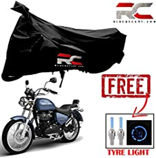 Riderscart Bike Cover for Royal Enfield Thunderbird 350X Two Wheeler Cover with Universal Car, Bike or Bicycle Tyre LED Light with Motion Sensor Tyre Light Blue Fancy Light Tail Light Plastic