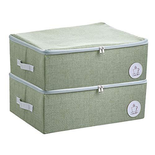 Staubdichtes Wandschrank Kleidung Aufbewahrungsboxen mit Reißverschluss, Breathable Fabric & Collapsible Design für Saisonkleidung Organisation, 2 Stück (Grün)