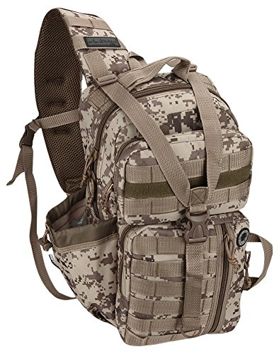 NPUSA Tactical Gear Molle Hydration Ready Sling Schulterrucksack Daypack Bag, Herren, Tan Digital Camo 18