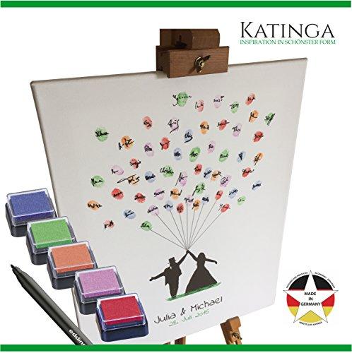 Personalisierte Leinwand zur Hochzeit - Motiv BRAUTPAAR MIT BALLON - als Gästebuch für Fingerabdrücke (40x50cm, inkl. Stift + Stempelkissen) (Tag Datum-stempel)