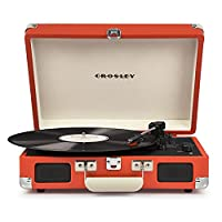 Crosley Cruiser Deluxe Briefcase Style Three Speed Portable Bluetooth Vinyl Turntable with Built-In Stereo Speakers - Orange