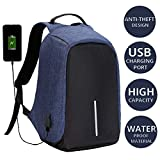 #6: Anti Theft Laptop Travel Backpack with Integrated USB Plug Charging Port Black & Blue Colour Bagpack