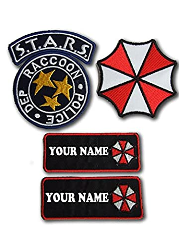 RESIDENT EVIL S.T.A.R.S WASCHBÄR CITY POLICE NAMENSSCHILD-SET 4 IRON ON PATCHES (Kostüm 2 Resident Evil)