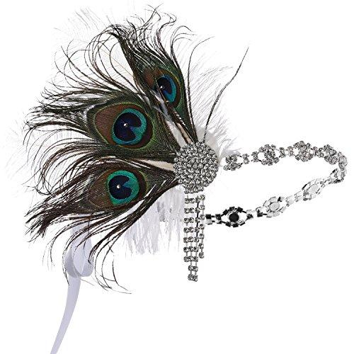 ArtiDeco 1920s Stirnband Feder Damen 20er Jahre Stil Flapper Showgirl Charleston Haarband Great Gatsby Damen Fasching Kostüm Accessoires (3 Stück Pfau Feder)