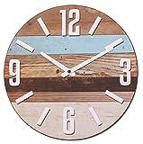 NIKKY HOME Holz Streifen Runde Wanduhr 30CM für Strand Haus Dekor