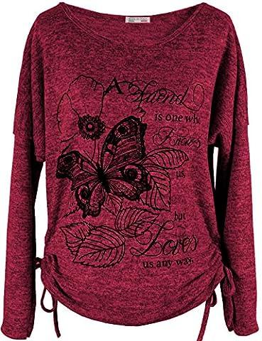 Emma & Giovanni - T-shirt imprimé Papillons - Femme (XL/XXL, Bordeaux)