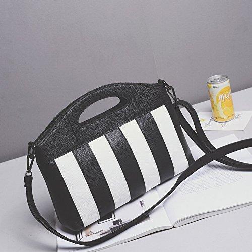 Lederhandtaschen Erste Schicht Leder Rindsleder Schwarz-Weiß Nähen Messenger Bag Umhängetasche , Schwarz Kampf weiß