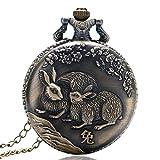 Vintage Pocket Watch, Retro-China-Tierkreis-Kaninchen-nette volle Jäger-Taschen-Uhr für Männer, rundes Quarz-Taschen-Uhr-Geschenk