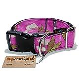 CandyPet Halsband für Hunde aus Baumwolle – Hundehalsband – Handarbeit – extra breit – in 4 Größen – mit oder ohne Clickverschluss – leicht verstellbar - Cherry Tree Click 4cm (30-55cm)