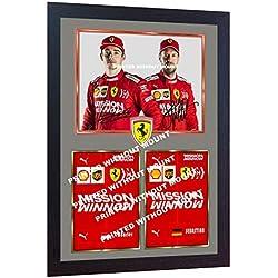 SGH SERVICES Cadre Photo en MDF avec autographe signé Sebastian Vettel Charles Leclerc Ferrari Formule 1