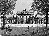 Einfarbige original Radierung Berlin, Brandenburger Tor (Aquatinta) einfarbig von Herzog als loses Blatt, Graphik, kein Kunstdruck, kein Leinwandbild