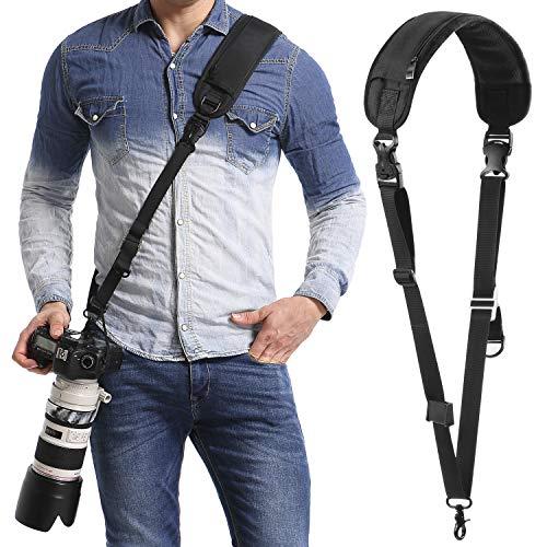 waka Kameragurt schnellverschluß Neopren Schwarz Kamera Tragegurt Verstellbarer Schultergurt Gurt Camera Strap für Canon Nikon Sony Fujifilm Olympus DSLR SLR -
