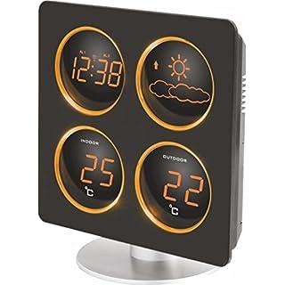 Technoline WS 6830 Wetterstation mit Wetterdendenz, Temperaturanzeigen, 2 Weckalarmen und Schlummerfunktion, LED-Anzeige, inklusive Außensender TX 96-TW004, warmes orange, Gehäuse schwarz