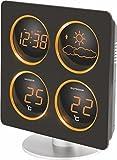Technoline WS 6830 Wetterstation mit Wetterdendenz, Temperaturanzeigen, 2 Weckalarmen und Schlummerfunktion, LED-Anzeige, inklusive Außensender TX 96-TW004, warmes orange, Gehäuse schwarz, 17,2 x 11 x 19,4 cm