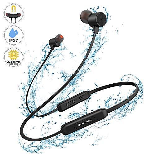 Bluetooth V5.0 Kopfhörer In-Ear YATWIN - Kabellose Magnetische und Nackenbügel Sportkopfhörer Kräftiger Bass, IPX7 Wasserdicht/In Ear Ohrhörer Mikrofon mit 9-12 Stunden Spielzeit für Joggen/Laufen