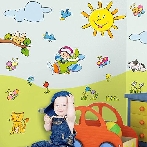LeoStickers - LeoKit start Il Parco: stickers murali bambini. Set di 20 adesivi camerette bambini a tema natura: alberi, sole, farfalle, nuvole, gatti, fiori, uccellini, erbetta, cielo. Trasforma le pareti della cameretta in un parco al sole!
