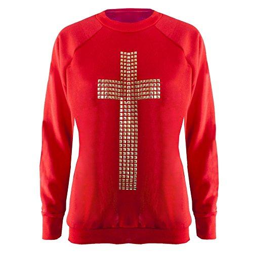 Clous Femme-Tête de mort-croix de Paix Sweat-shirt Manches longues Décontracté - Cross Red - Ribbed Cuffed Wrists