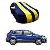 #6: MotRoX Sporty Yellow Stripe Car Body Cover For Maruti Suzuki S-Cross (Water Resistant and Triple Stiched-GN)