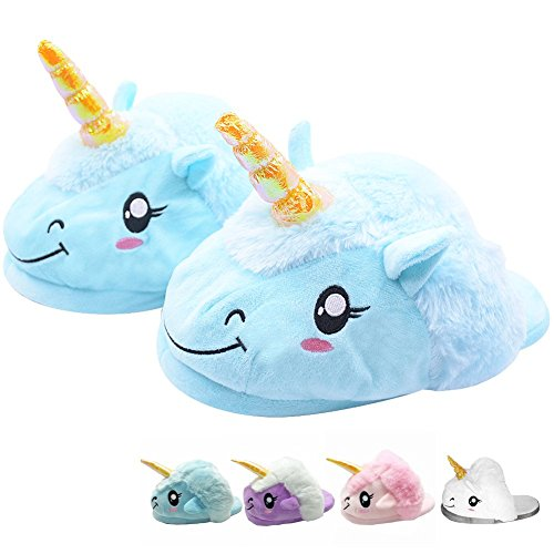 Unicorn Slippers Light up LED Warm Soft Plush Slip-On OneSize 3D Cute Cartoon Animal Indoor Shoes for Girls Boys Christmas Halloween Birthday Gift 3UK-10UK/35EU-43EU
