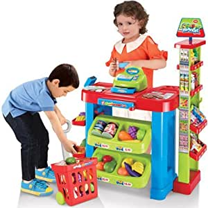 deAO Supermarket Kids Market Stall Toy Shop with Shopping Trolley & Play Food
