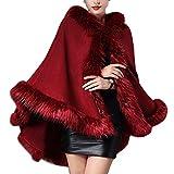 KAXIDY Abrigos de Moda Mujer Piel Imitación Capas Abrigos Invierno Chaquetas Ponchos Capas (Vino-Rojo)