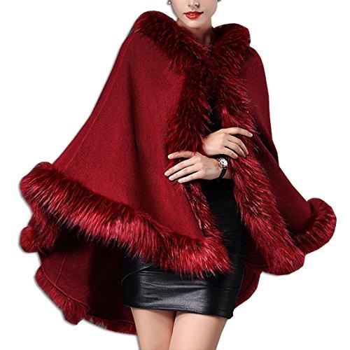 Kaxidy donna bordo in pelliccia sintetica scialle poncho cappotto mantella (vino rosso)