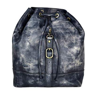 Vintage leather backpack genuine washed leather travel bag weekender sports bag gym bag leather shoulder ladies mens blue backpack - handmade-bags