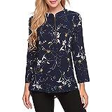 Oliviavan,Frauen Fashion Casual Langarm-Druck Zip Bluse Tops Große Größe Mode für Mollige büro Outfit Herbst Outfit Festliche Kleider Elegante
