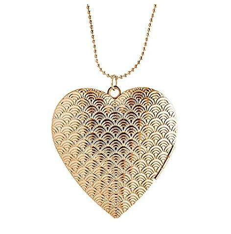 Pendentif coeur pendentif collier qui tient des images Charm or plaqué oré gravé pour les (Cuori Saluto Pendente)